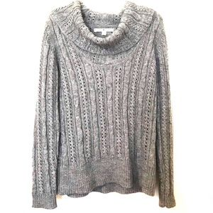Tommy Hilfiger Cowl Neck Cable Knit Mohair Sweater
